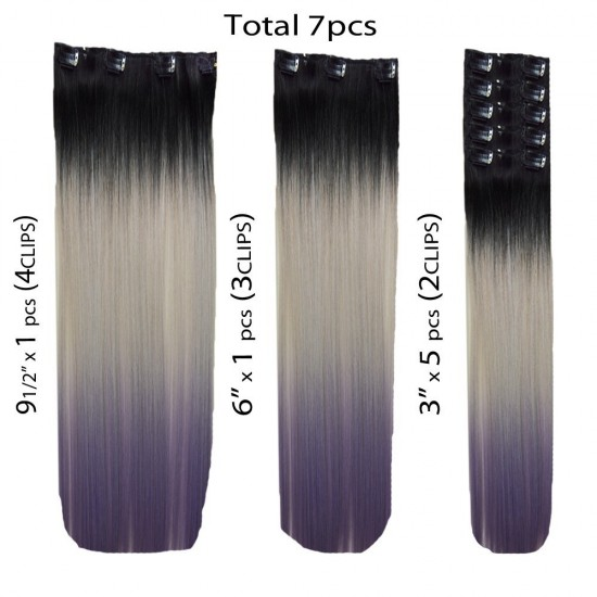 18 clip in - 7pcs synthetic hair extension -straight- black grey purple pastel
