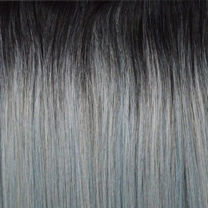 "18"" clip in - 7pcs synthetic hair extension -straight- black grey pastel(14)"