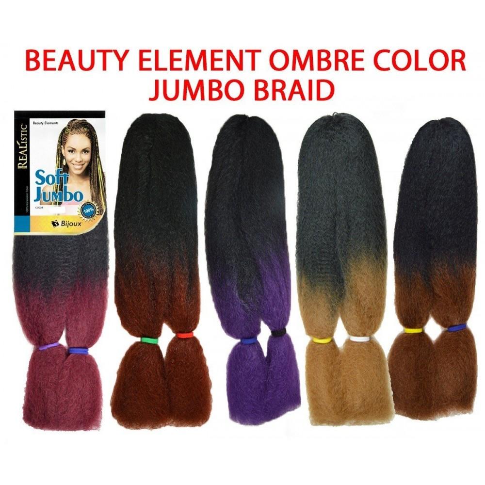 Beauty Element Synthetic 100% Kanekalon Jumbo Braid Ombre Color
