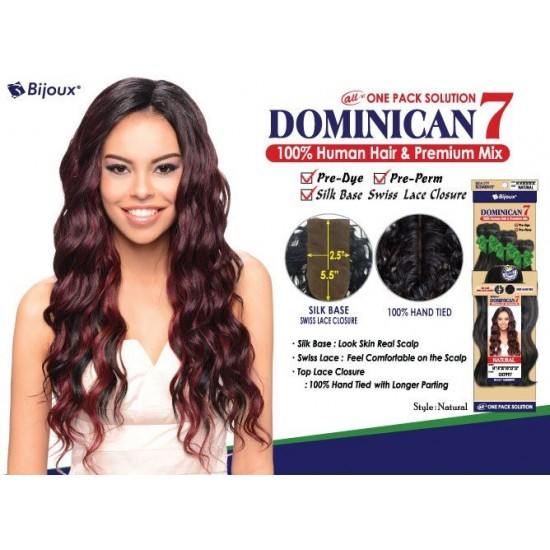 Bijoux Beauty Element Dominican 7 Natural Curl Human Hair & Premium Mix Weave 18+20+22