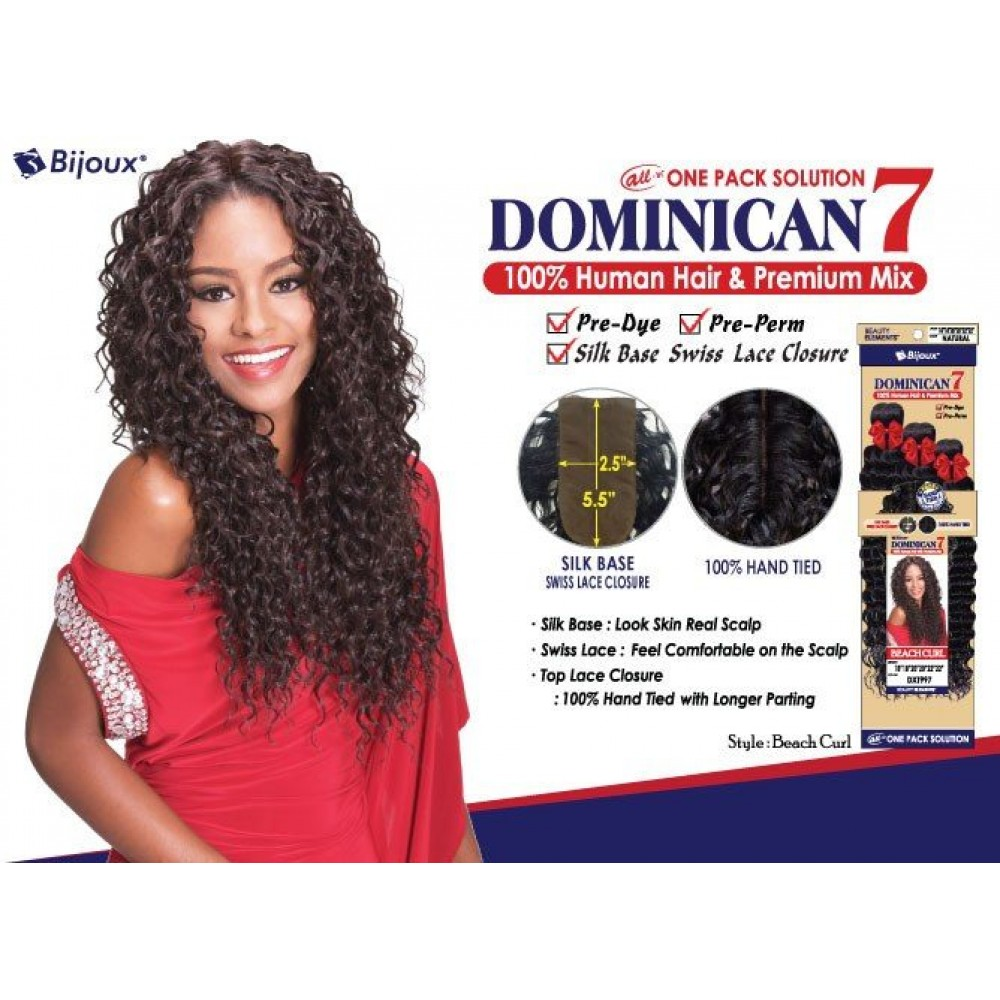Bijoux Beauty Element Dominican 7 Beach Curl Human Hair & Premium Mix Weave 18+20+22