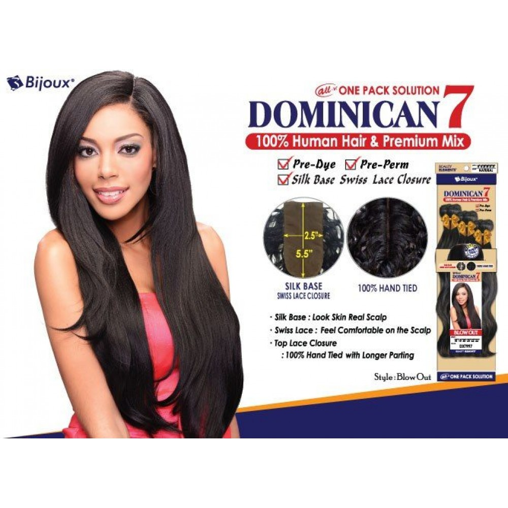 Bijoux Beauty Element Dominican 7 Blow Out Human Hair & Premium Mix Weave 18+20+22
