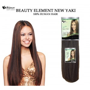 "Bijoux Beauty Element New Yaki Straight 100% Human Hair Weave Comba Pack 14""+16"""