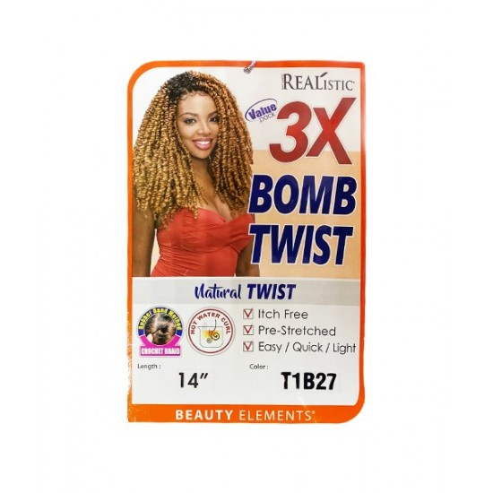 Beauty Elements Ghana Twist Synthetic Hair Crochet Braid Loop 3x Bomb Twist 14