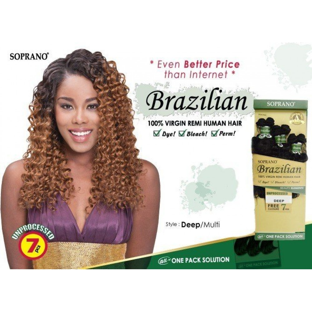Bijoux Beauty Element Soprano 100% Unprocessed Brazilian Virgin Remi Human Hair Weave Deep Wave  10+12+14