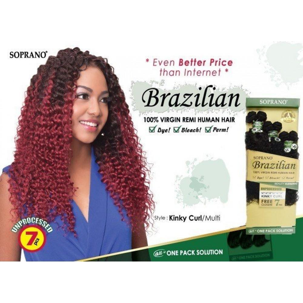Bijoux Beauty Element Soprano 100% Unprocessed Brazilian Virgin Remi Human Hair Weave Kinky Curl 10+12+14