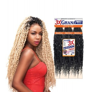 Beauty Elements Ghana Twist Synthetic Hair Crochet Braid Loop 3x Pre Stretched Passion Twist 30""