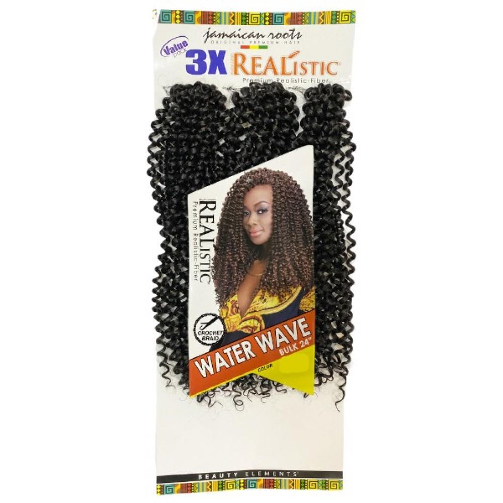 Beauty Element Realistic Synthetic Hair Crochet Bulk Braid 3x Water Wave 24