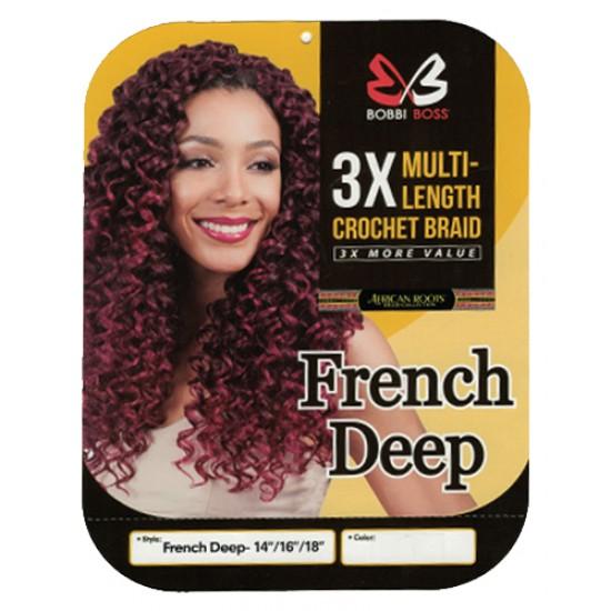 Bobbi Boss Synthetic Hair Crochet Braid 3x Multi Pack 14/16/18 French Deep