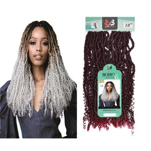 Bobbi Boss Nu Locs Synthetic Hair Crochet Braid Loop 2x Boho Water Curl 18""
