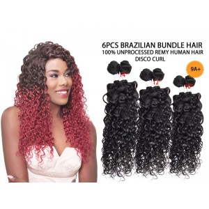 Ebo Brazilian Bundle Unprocessed 100% Virgin Remy Human Hair Weave 9a Disco Curl 6pcs
