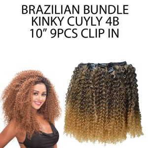 "Ebo Brazilian Bundle 100% Human Hair & Premium Mix Clip In Extension Kinky Curly 10"" 4b 9 Pcs"