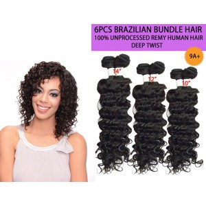 Ebo Brazilian Bundle Unprocessed 100% Virgin Remy Human Hair Weave 9a Deep Twist 6pcs