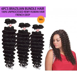Ebo Brazilian Bundle Unprocessed 100% Virgin Remy Human Hair Weave 9a French Deep 6pcs