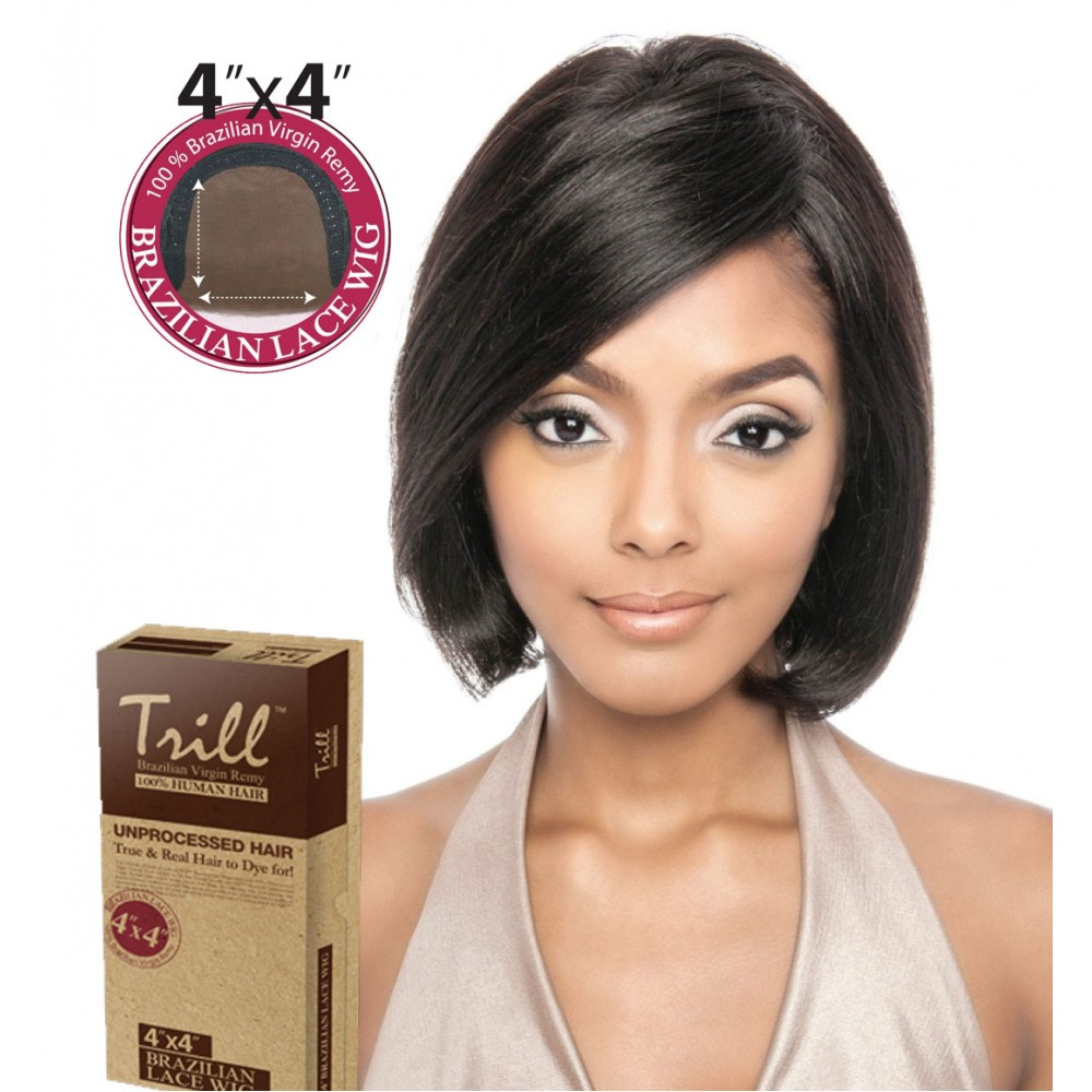 TRILL BRAZILIAN UNPROCESSED VIRGIN 100% REMY HUMAN 4x4 LACE WIG BAMBOO 10