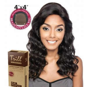TRILL BRAZILIAN UNPROCESSED VIRGIN 100% REMY HUMAN 4x4 LACE WIG MAPLE 18""