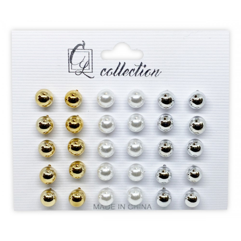 Ebo Pearl Studs Earrings White/gold/silver (15 Pairs)
