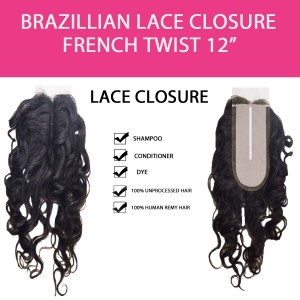 Brazilian 100% Remy Human Hair Silk Lace Closure  French Twist 12""