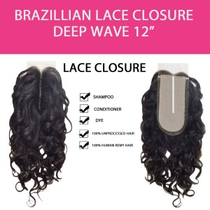 Brazilian 100% Remy Human Hair Silk Lace Closure  Deep Wave 12""