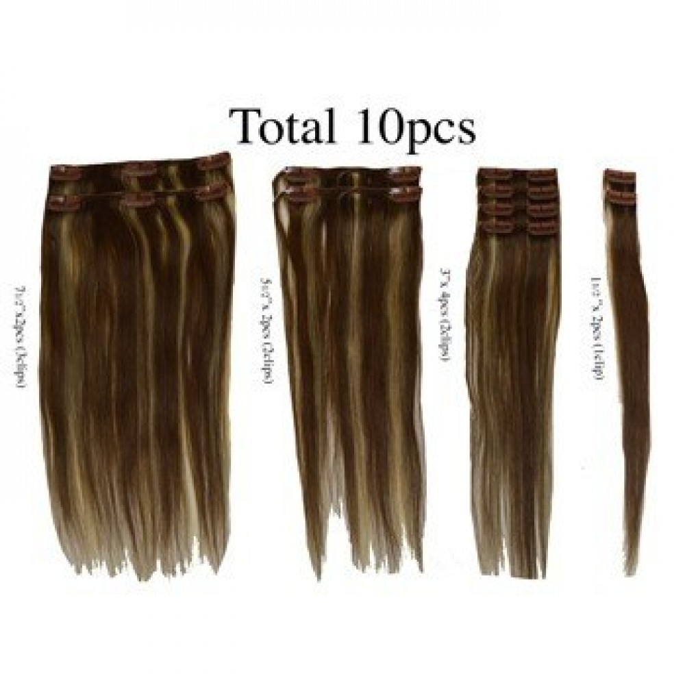 12 clip in - 10pcs 100% human hair extensions -straight- light golden brown (12)