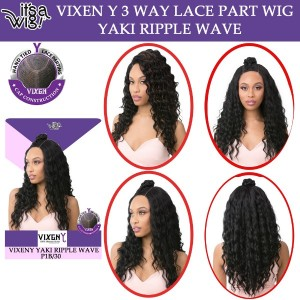 Its A Wig 100% Human Hair Premium Mix Vixen Y 3 Way Lace Front Part Wig Yaki Ripple Wave