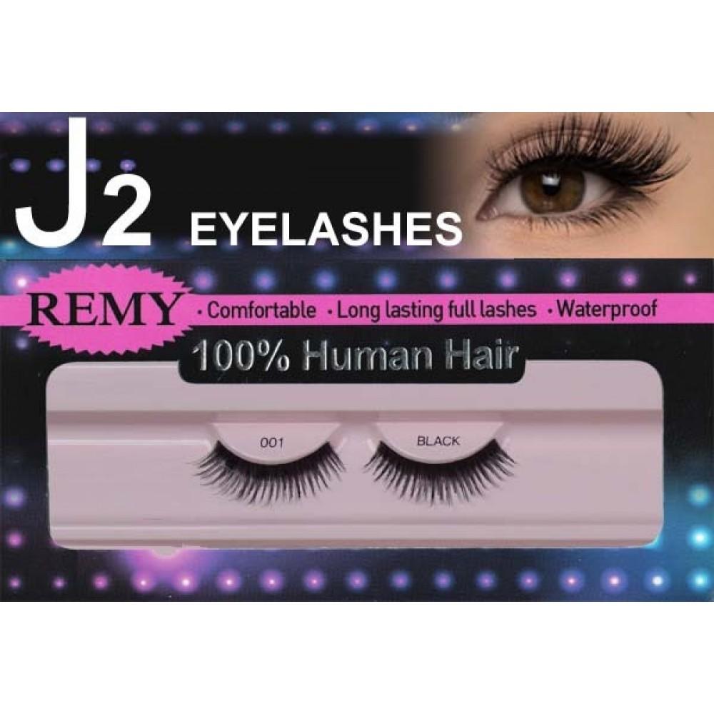 J2 Eyelashes 100% Remy Human Hair # 001 Black