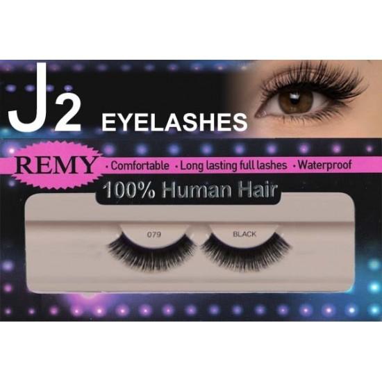 J2 Eyelashes 100% Remy Human Hair # 079 Black