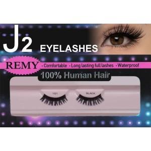 J2 Eyelashes 100% Remy Human Hair # 101 Black