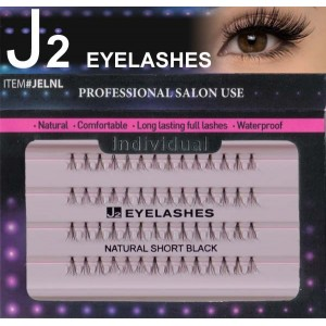 J2 Eyelashes Individual Natural Short Black