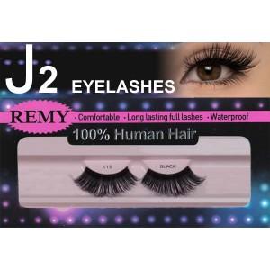 J2 Eyelashes 100% Remy Human Hair  #115 Black