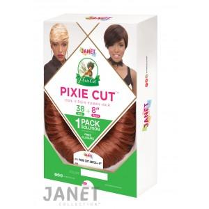 """Janet Collection Pixie Cut 38 Pcs + 8""""  Oprah Curl 100% Human Hair Weave"""