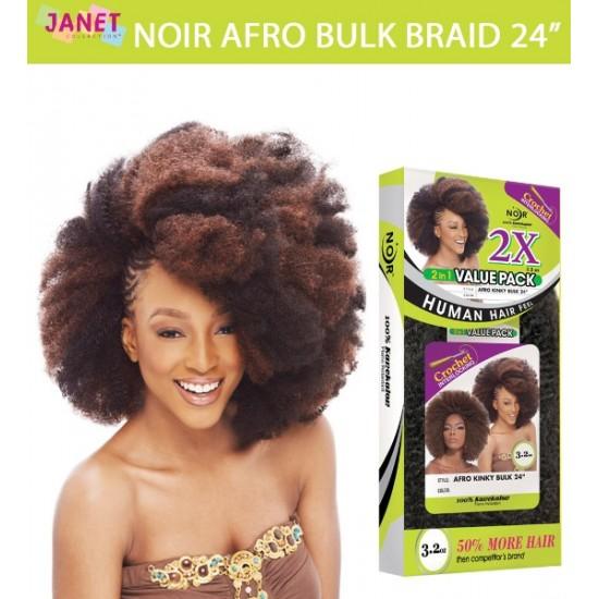 Janet Collection Noir Synthetic Hair Crochet Braid Afro Bulk Braid 24
