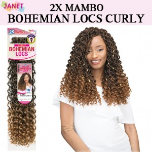 Janet Collection Synthetic Hair Crochet Braid Loop 2x Mambo Bohemian Locs Curly 18""