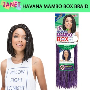 Janet Collection Mambo Synthetic Hair Crochet Braid Loop Havana Box Braid 10""