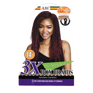 Mane Concept Afri Synthetic Hair Crochet Braid Loop 3x Box Braids Pre Stretched 14""