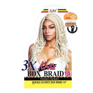 Mane Concept Afri Synthetic Hair Crochet Braid Loop 3x Box Braid Wavy End Kritz 14""