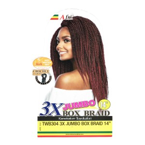 Mane Concept Afri Synthetic Hair Crochet Braid Loop 3x Jumbo Box Braid 14""