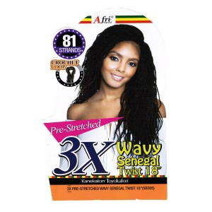 Mane Concept Afri Synthetic Hair Crochet Braid Loop 3x Pre Stretched Senegal Twist Wavy 18""
