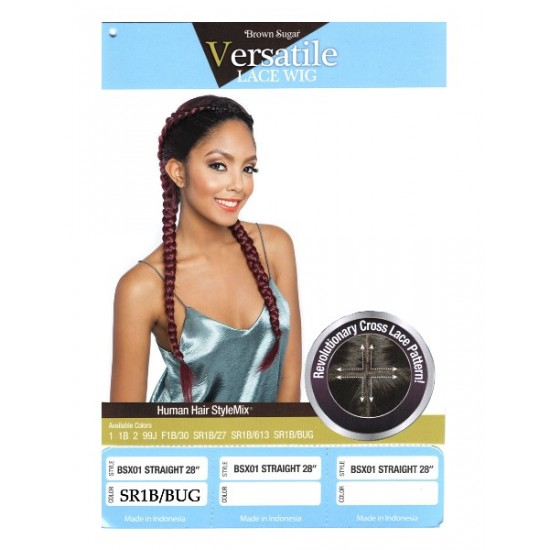 Mane Concept Brown Sugar Versatile Lace Human Hair Stylemix Lace Front Wig Bsx01 Straight 28