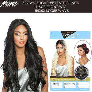 Mane Concept Brown Sugar Versatile Lace Human Hair Stylemix Lace Front Wig Bsx02 Loose Wave 28""