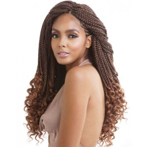 Mane Concept Afri Synthetic Hair Crochet Braid Loop 3x Box Braid Curly End 18""