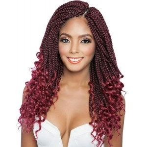 Mane Concept Afri Synthetic Hair Crochet Braid Loop 3x Box Braid Curly End 14""