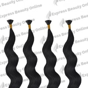 "18"" fusion -u tip- 100pcs 100% human hair extensions - off black (1b) - wavy"
