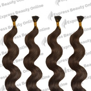 "18"" Fusion-i Tip- 140pcs 100% Human Hair Extensions - Ash Brown (8) - Wavy"