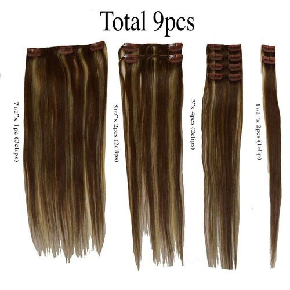 16 clip in - 9pcs 100% human hair extensions - off black (1b)