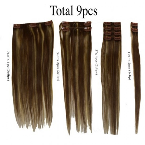 16 clip in 9 pcs 100% human remi hair extensions - chestnut brown/off ash blonde (p6/22)