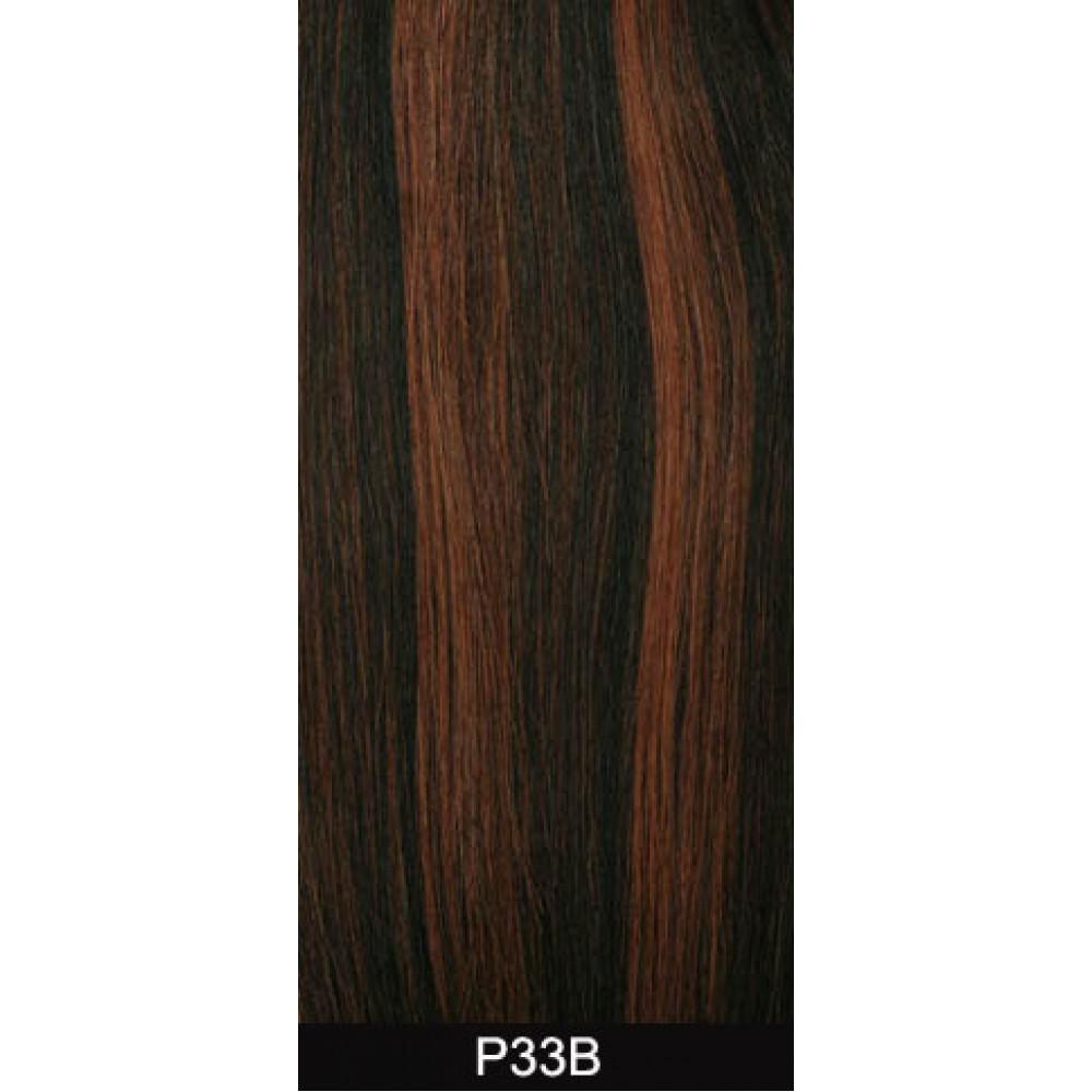 18 clip in - 9pcs 100% human hair extensions - wavy-dark auburn (33b)