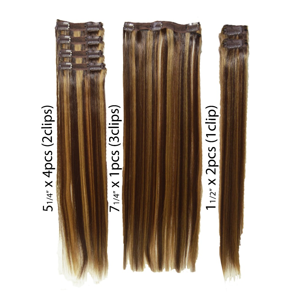22 clip in - 7pcs synthetic hair extension name - pure blonde/honey (613/27)