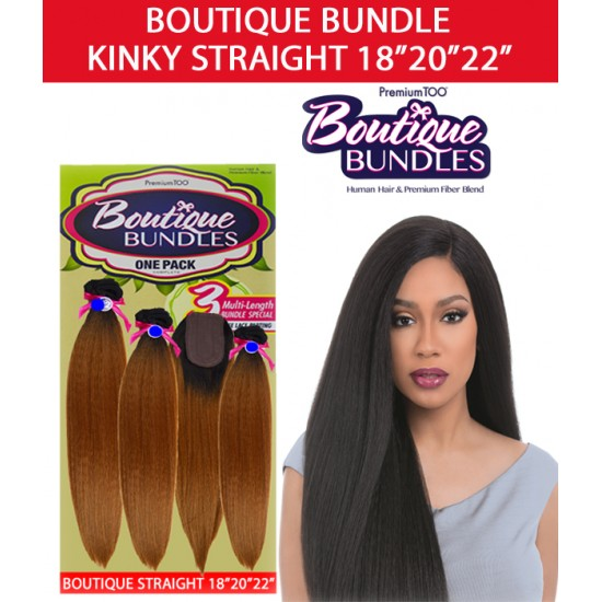 Sensationnel Boutique Bundle Multi Pack 100% Human Hair & Premium Blend Hair Weave Straight