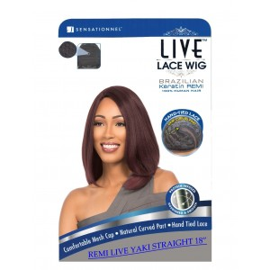 Sensationnel Live Brazilian 100% Remi Human Hair Lace Wig Yaki Straight 18""